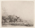 Prints & Multiples, Rembrandt van Rijn (Dutch, 1606-1669). Landscape with cow, circa 1650. Etching on paper. Plate: 4-1/8 x 5-1/8 inches (10...