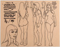 animation art:Model Sheet, Alex Toth Challenge of the Superfriends Amazon Model Sheet Original Art (Hanna-Barbera, 1978)....
