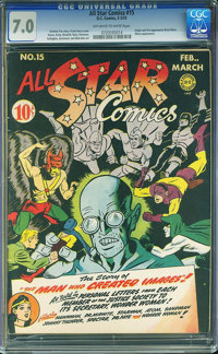 All Star Comics #15 (DC, 1943) CGC FN/VF 7.0 Off-white to white pages