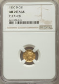 Gold Dollars, 1850-D G$1 -- Cleaned -- NGC Details. AU. Variety 2-C....