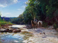 , James Robinson (American, 1944-2015). Taking a Break. Oil oncanvas. 18 x 24 inches (45.7 x 61.0 cm). Signed lower left:...
