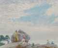 Paintings, Charles Courtney Curran (American, 1861-1942). Gray Day on the Cliff, 1935. Oil on canvas laid on Masonite. 18-1/4 x 22 ...