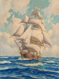 Fine Art - Painting, American, Joe Duncan Gleason (American, 1881-1959). The California ClipperShip -- Young America. Oil on canvasboard. 16 x 12 inch...