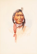 Works on Paper, Edgar Samuel Paxson (American, 1852-1919). Nez Perce, 1917. Watercolor on paper. 9 x 7-1/2 inches (22.9 x 19.1 cm) (imag...