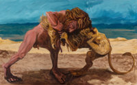 Earl Staley (American, b. 1938) Hercules and the Nemean Lion, 1983 Acrylic on canvas 39 x 63 inch