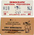 Political:3D & Other Display (1896-present), [Lyndon B. Johnson]: 1964 Democratic National Convention License Plate....