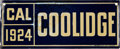 Political:3D & Other Display (1896-present), Calvin Coolidge: 1924-Dated California License Plate....