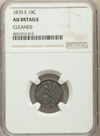 1870-S 10C -- Cleaned -- NGC Details. AU. NGC Census: (3/12). PCGS Population: (4/25). CDN: $950 Whsle. Bid for problem-...