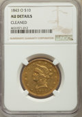 Liberty Eagles, 1843-O $10 -- Cleaned -- NGC Details. AU. NGC Census: (49/200). PCGS Population: (35/69). CDN: $1,600 Whsle. Bid for proble...