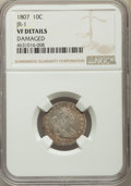 Early Dimes, 1807 10C -- Damage -- NGC Details. VF. PCGS Population: (19/280).VF20. Mintage 165,000. From The Sa...