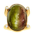Estate Jewelry:Rings, Gentleman's Cat's-Eye Tourmaline, Diamond, Gold Ring, Gary Ewing....