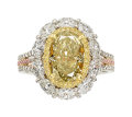 Estate Jewelry:Rings, Fancy Greyish Yellowish Green Diamond, Diamond, Platinum, GoldRing, Tremonti. ...