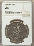 Trade Dollars: , 1876-CC T$1 VF20 NGC. NGC Census: (6/134). PCGS Population: (5/211). CDN: $625 Whsle. Bid for problem-free NGC/PCGS VF20. M...