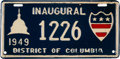 Political:3D & Other Display (1896-present), Harry S Truman: 1949 Inauguration License Plate....