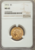 Indian Half Eagles: , 1915 $5 MS62 NGC. NGC Census: (1797/1202). PCGS Population:(1489/1537). MS62. Mintage 588,075. . From The San JuanCol...