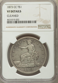 1873-CC T$1 -- Cleaned -- NGC Details. VF. NGC Census: (3/130). PCGS Population: (8/277). CDN: $600 Whsle. Bid for probl...