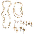 Estate Jewelry:Lots, Diamond,Cultured Pearl, Gold Jewelry. ... (Total: 9 Items)
