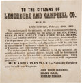 "Miscellaneous:Broadside, [Civil War]. CSA Broadside ""To the Citizens of Lynchburg and Campbell Co."" ..."