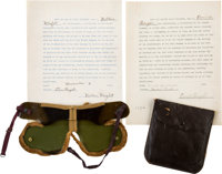 Wilbur and Orville Wright Signed Contracts Together with Contemporary Shaded Aviation Goggles
