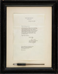Autographs:U.S. Presidents, [John F. Kennedy]. Bill Signing Pen with Letter....