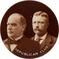 """Political:Pinback Buttons (1896-present), McKinley & Roosevelt: Fabulous 3 ½"""" Real Photo Jugate. ..."""