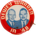 Political:Pinback Buttons (1896-present), Dewey & Warren: Rare Western Badge & Novelty Jugate....