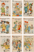 Political:Small Paper (1896-present), Woman's Suffrage: Series of Nine Cartoon Postcards....