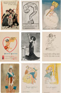 Political:Small Paper (1896-present), Woman's Suffrage: Nine Different Cards Including Some ExceptionalExamples....