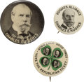 Political:Pinback Buttons (1896-present), Charles Evan Hughes: Coattail Quadrugate and Picture Pins. ...