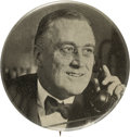 Political:Pinback Buttons (1896-present), Franklin D. Roosevelt: Very Scarce Telephone Picture Pin. ...