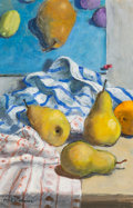 Works on Paper, Paul Wonner (1920-2008). Fruit and Kitchen Towels (Small #2), 2000-2001. Acrylic and charcoal on paper. 15-1/4 x 10 inch...