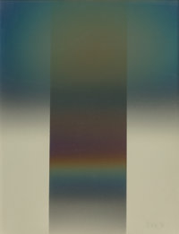 Larry Bell (b. 1939) DIFGY 26, 1980 Aluminum and silicon monoxide on paper 35-3/4 x 27-1/2 inches