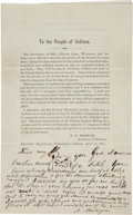 """Autographs:Statesmen, [Governor Oliver Morton]. Anonymous Autograph Note Signed """"AMiscegin"""" on an Indiana Recruitment Circular...."""