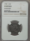 1794 1/2 C -- Damaged -- NGC Details. VF. NGC Census: (0/0). PCGS Population: (32/236). VF20. Mintage 81,600. ...(PCGS#...