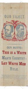 "Political:Ribbons & Badges, Seymour & Blair: Probably The Finest Known ""White Man's Country"" Jugate Ribbon...."