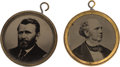 Political:Ferrotypes / Photo Badges (pre-1896), Ulysses S. Grant and Horatio Seymour: Rare Matched Pair of Back-to-Back Ferrotype Pendants. ... (Total: 2 Items)
