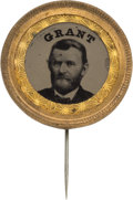 Political:Ferrotypes / Photo Badges (pre-1896), Ulysses S. Grant: Bold and Attractive Ferrotype Stickpin. ...