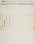 Autographs:Military Figures, Robert E. Lee Partly Printed Document Signed on Verso....