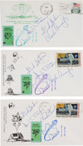 Explorers:Space Exploration, Apollo 12 Crew-Signed Lunar Landing, Lunar Liftoff, and Splashdown NASA Local Post Covers (Three) Directly from the Family Col...