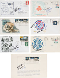 Apollo 15 Crew-Signed Covers, Post Card, and First Day Folder (Seven Items Total) Directly from the Family Collection of...