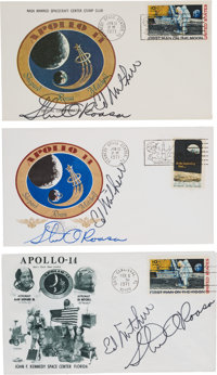 Apollo 14 Launch (Two) and Lunar Landing Covers Signed by Mitchell and Roosa, Directly from the Family Collection of Ast...