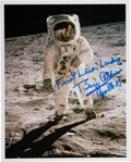 "Explorers:Space Exploration, Buzz Aldrin Signed Apollo 11 Lunar Surface ""Visor"" Color Photo. ..."