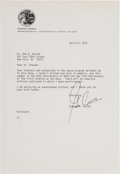Explorers:Space Exploration, Gene Cernan Typed Letter Signed Mentioning the Anniversaries of NASA and the Moon Landing. ...