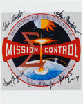 Explorers:Space Exploration, NASA Mission Control Emblem Color Photo Signed by Five Controllers. ...