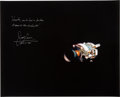 Explorers:Space Exploration, James Lovell Signed Large Apollo 13 Damaged Service Module Color Photo with Famous Quote....