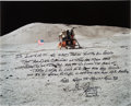 Explorers:Space Exploration, Gene Cernan Signed Large Apollo 17 Lunar Surface Color Photo with Extensive Handwritten Quote. ...