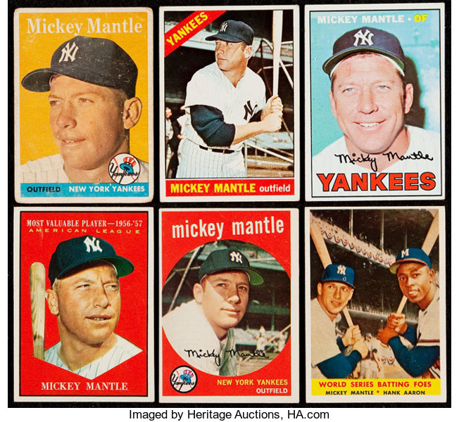 1958 67 Topps Mickey Mantle Collection 6 Baseball Cards Lots