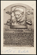 Autographs:Post Cards, Ed Walsh Signed Black and White Hall of Fame Plaque Postcard. ...