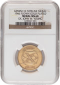 Explorers:Space Exploration, Gemini 10 Flown MS60 NGC Gold-Colored Fliteline Medallion Originally from the Personal Collection of Mission Commander John Yo...