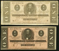 Confederate Notes:1864 Issues, T71 $1 1864 PF-1 Cr. 576; PF-10 Cr. 573A.. ... (Total: 2 notes)